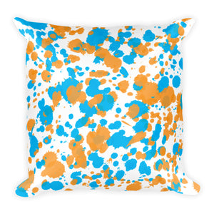 Paint Splatter Pillow - Orange & Blue