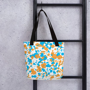 Paint Splatter Tote Bag - Orange & Blue