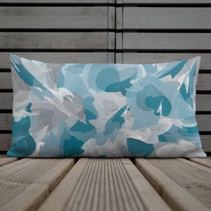 Abstract Watercolor Blue and Gray - Premium Throw Pillow