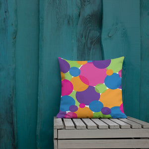 Rainbow Circles Premium Throw Pillow
