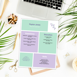 Resume -  Purple Mint Flower - Editable Fillable