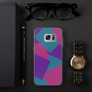 Color Shapes Overlay Pattern Samsung Case - Purple Teal Pink