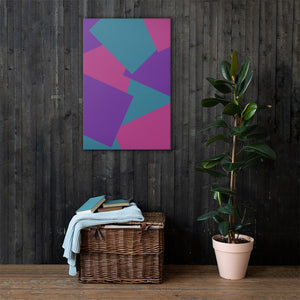 Shape Overlay Abstract Pattern Canvas Print - Purple, Teal, Pink