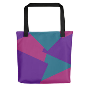 Multi Color Shape Overlay Tote Bag - Purple, Teal, Pink