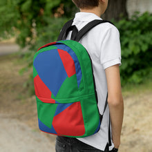 Load image into Gallery viewer, Shapes Overlay Pattern Backpack - Blue, Red, Green