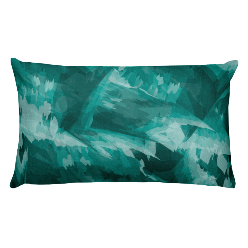 Abstract Painted Pattern Premium Pillow - Teal