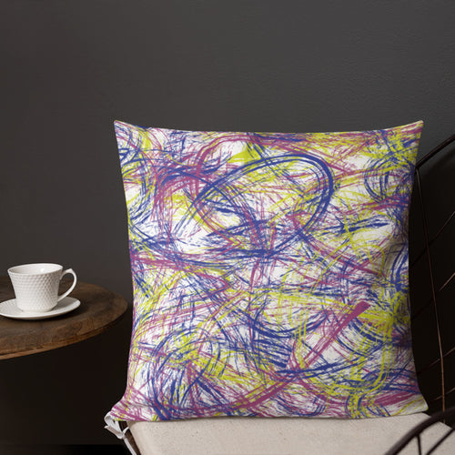 Abstract Thin Brush Premium Pillow - Neon