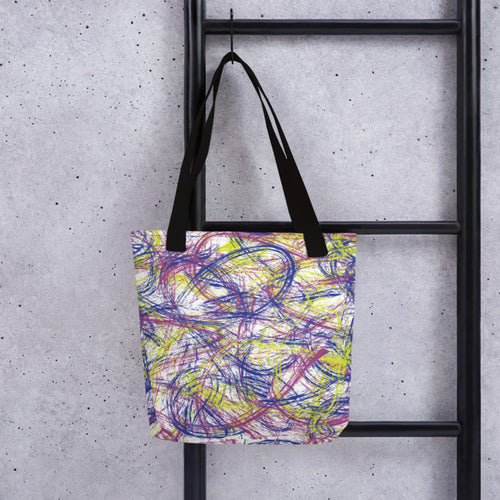 Thin Brush Strokes Tote Bag - Pink, Blue, Neon Green
