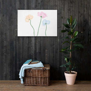 Flowers Watercolor Canvas Print - Pink Orange Blue