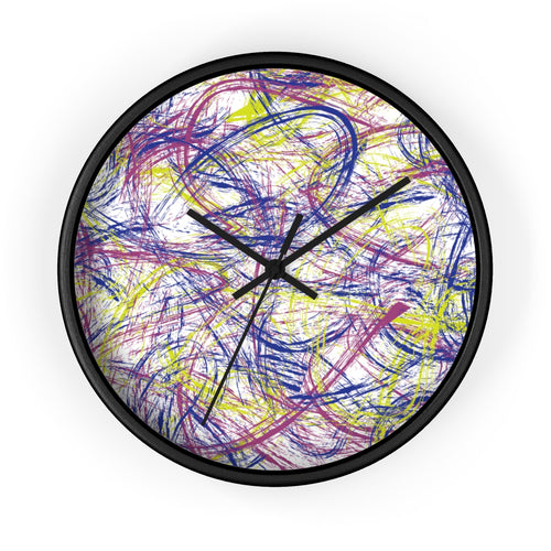 Abstract Thin Brush Wall Clock - Pink, Blue, Neon Green