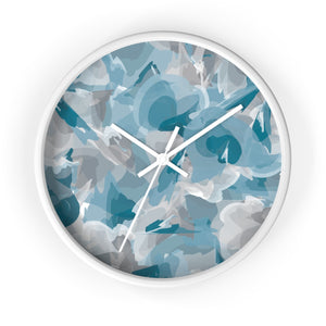 Abstract Watercolor Wall Clock - Blue and Gray