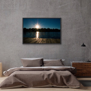 Sunset Lake Dock View - Framed Print