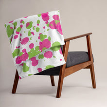 Load image into Gallery viewer, Paint Splatters Throw Blanket - Pink & Green