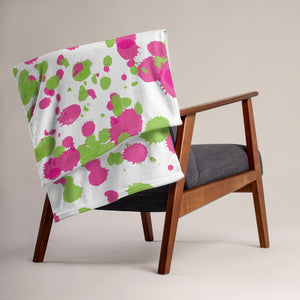 Paint Splatters Throw Blanket - Pink & Green