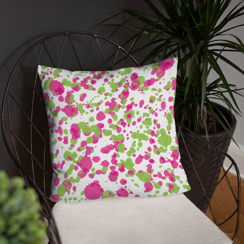 Paint Splatter Pillow - Pink & Green