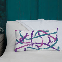 Load image into Gallery viewer, Brush Strokes Purple, Teal, Pink - Premium Throw Pillow