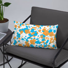 Load image into Gallery viewer, Paint Splatter Pillow - Orange & Blue