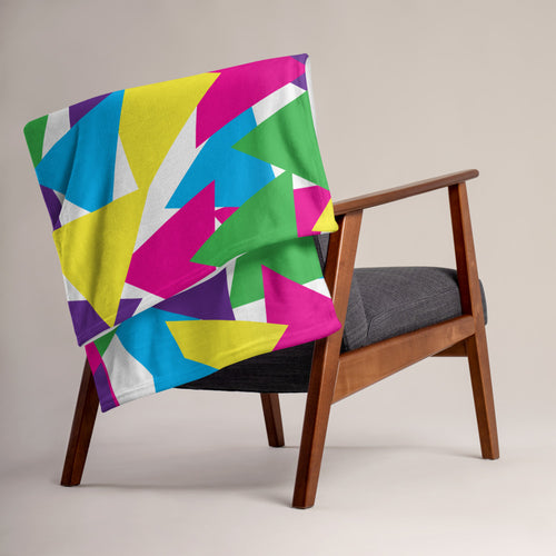 Colorful Abstract Triangles Throw Blanket