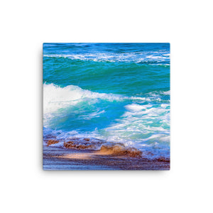 Waves Crashing Sandy Beach - Canvas Print
