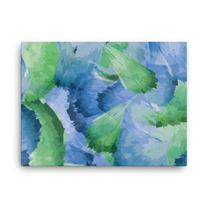 Abstract Leaf Pattern Watercolor Canvas - Blue Green