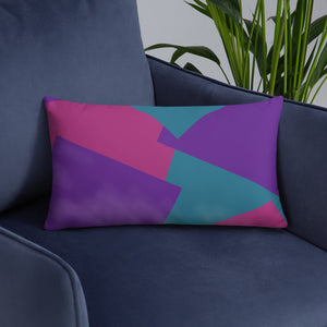 Shapes Overlay Pillow - Purple, Pink, Teal