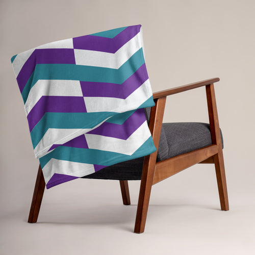 Chevron Pattern Throw Blanket - Teal, Purple, White