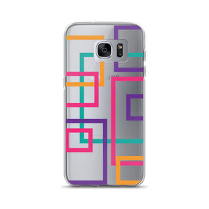 Geometric Pattern - Samsung Case - Purple Pink Orange Teal