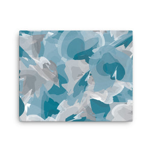 Abstract Watercolor Canvas - Blue and Gray