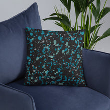 Load image into Gallery viewer, Black and Teal Paint Splatter Throw Pillow