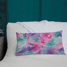 Load image into Gallery viewer, Abstract Watercolor Premium Pillow - Pink Purple Aqua