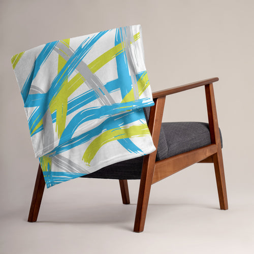 Abstract Brush Strokes Throw Blanket - Blue, Green, Gray