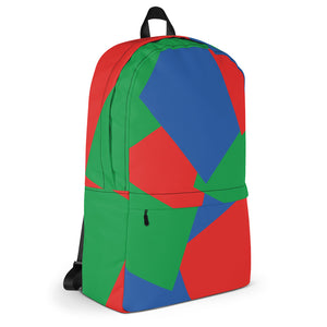 Shapes Overlay Pattern Backpack - Blue, Red, Green