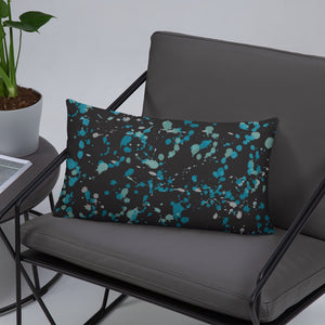 Black and Teal Paint Splatter Throw Pillow