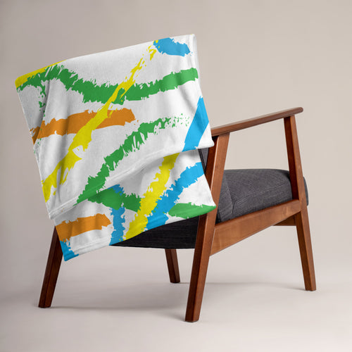 Abstract Brush Strokes Throw Blanket - Orange, Blue, Green, Yellow