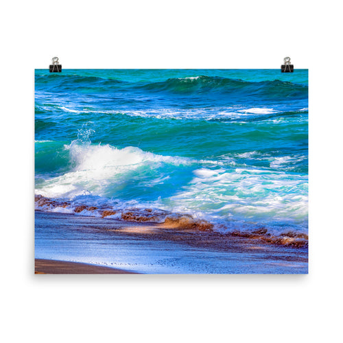 Waves Crashing Beach - Unframed Print