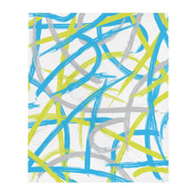 Load image into Gallery viewer, Abstract Brush Strokes Throw Blanket - Blue, Green, Gray