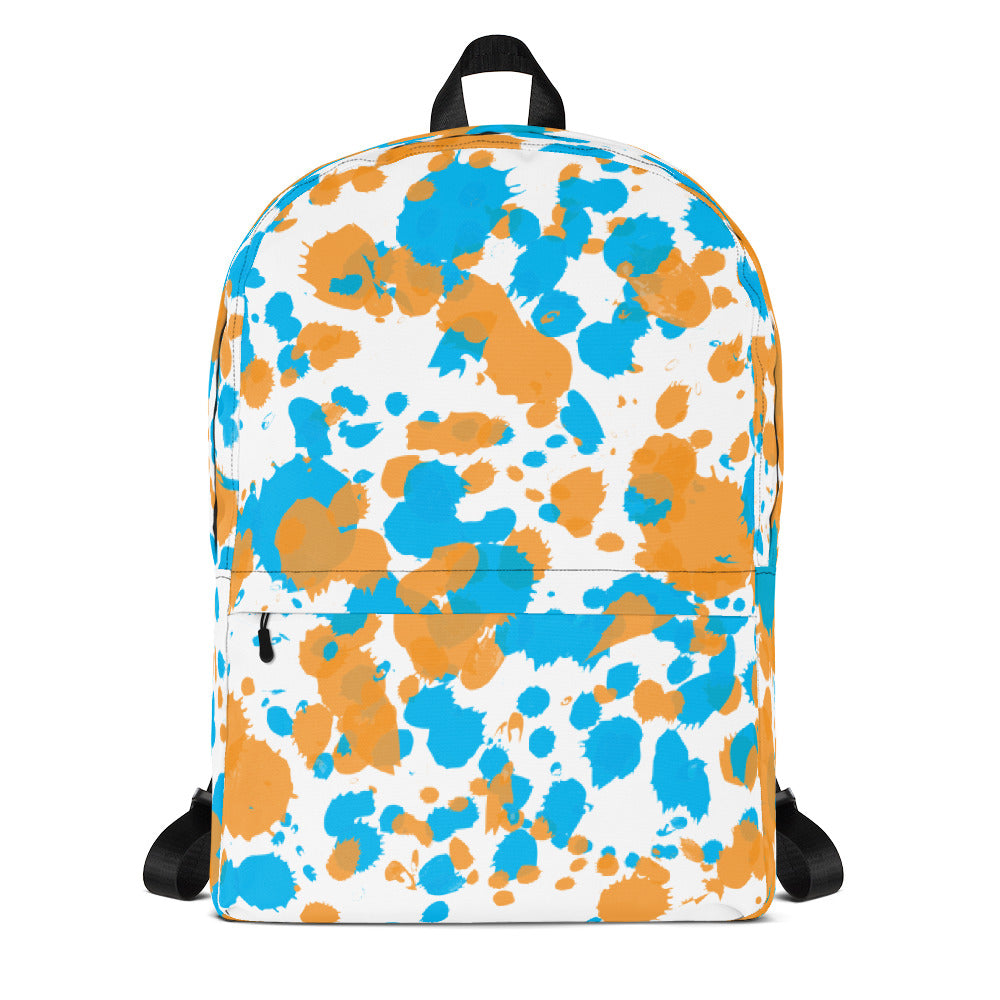 Paint Splatter Backpack - Orange & Blue
