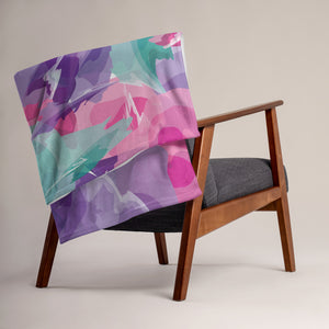 Abstract Watercolor Throw Blanket - Purple, Pink, Teal