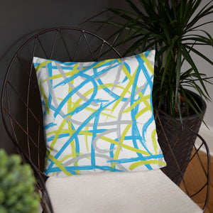 Abstract Brush Strokes Pillow - Blue, Green, Gray