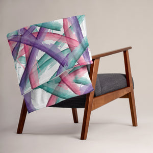 Abstract Multi Color Brush Strokes Throw Blanket