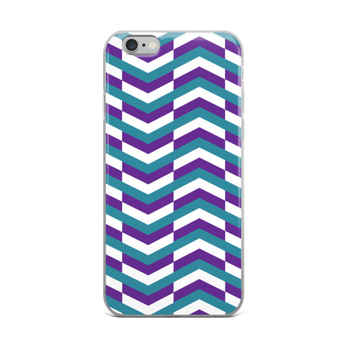 Chevron Pattern iPhone Case - Purple Teal White
