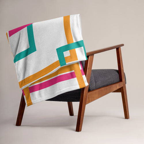 Multi Color Geometric Pattern Throw Blanket