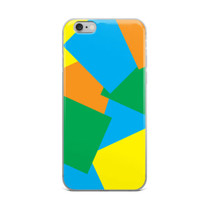 Color Shapes Overlay Pattern - iPhone Case - Blue Orange Yellow