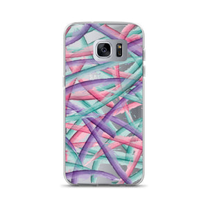 Colorful Brush Strokes Pattern Samsung Case - Purple Pink Teal