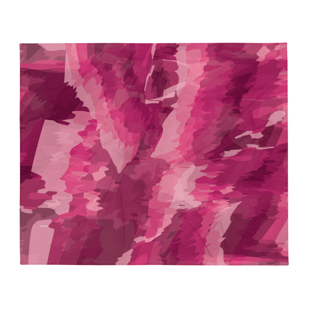 Abstract Contemporary Throw Blanket - Pink