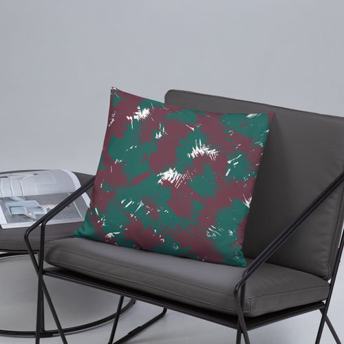 Maroon Teal Abstract Throw Pillow