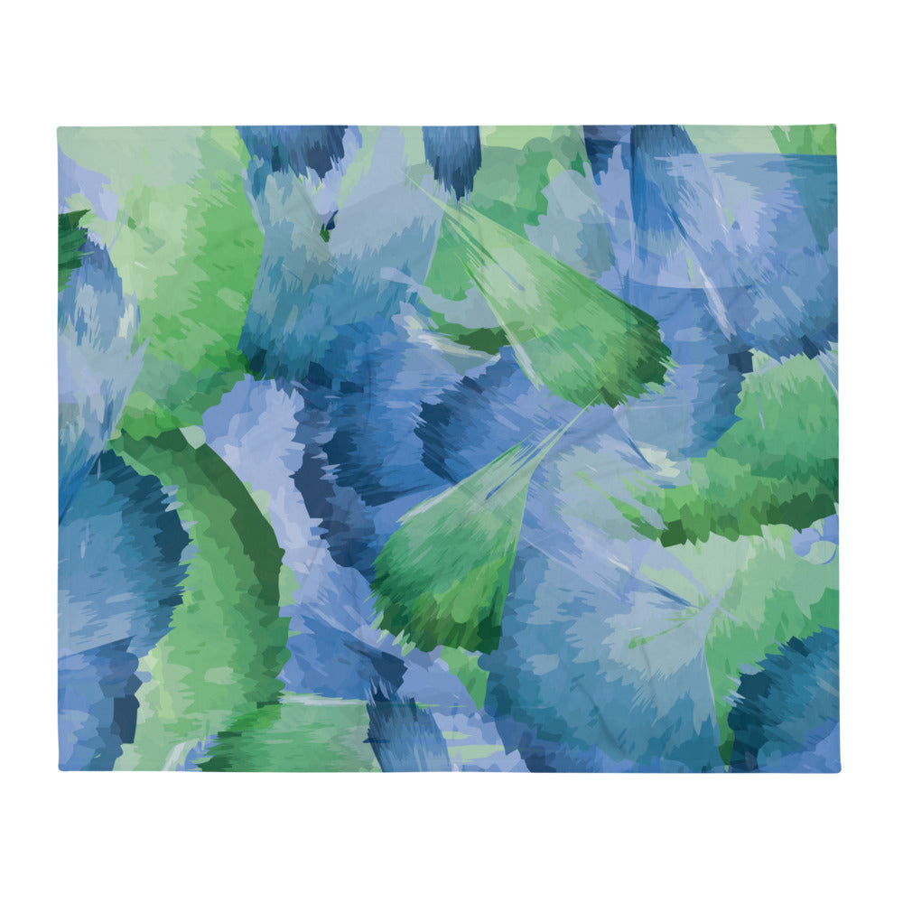 Abstract Leaf Pattern Throw Blanket
