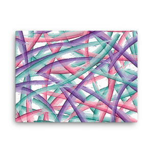 Abstract Multi Color Brush Strokes Canvas Print - Purple Pink Teal
