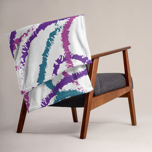 Abstract Brush Strokes Throw Blanket - Purple, Teal, Pink
