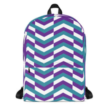 Load image into Gallery viewer, Chevron Pattern Backpack - Purple, Teal, White